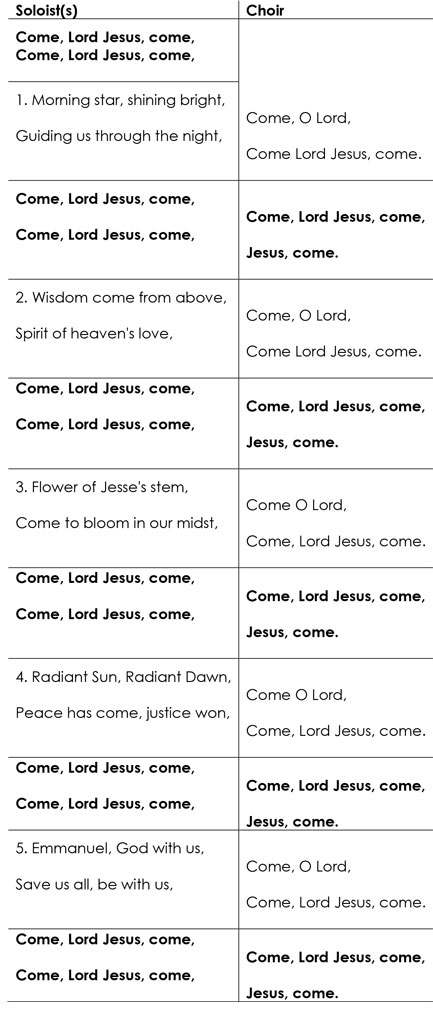 Lyrics for Come Lord Jesus